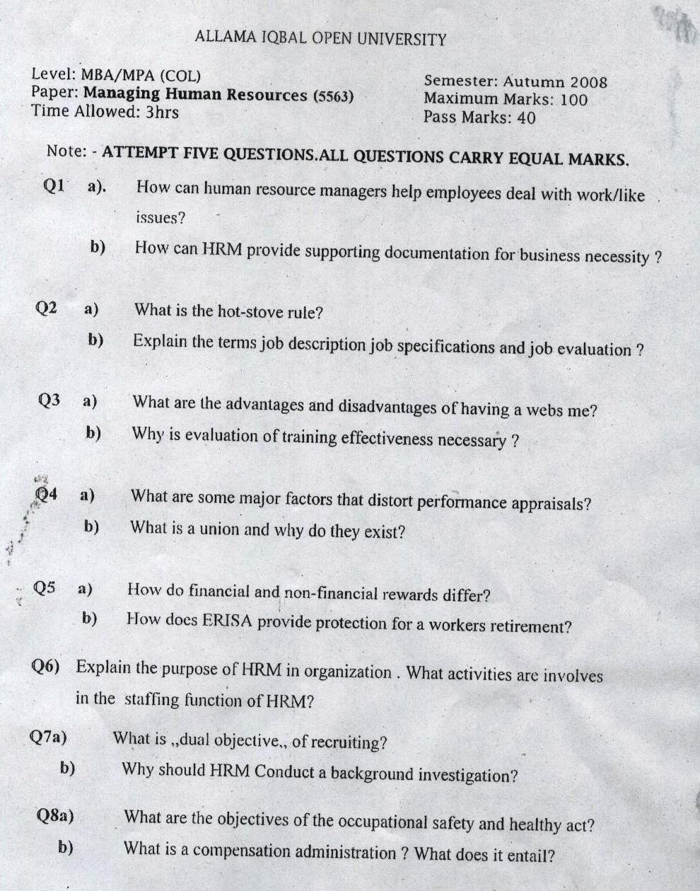 Hrm Question Paper Mba