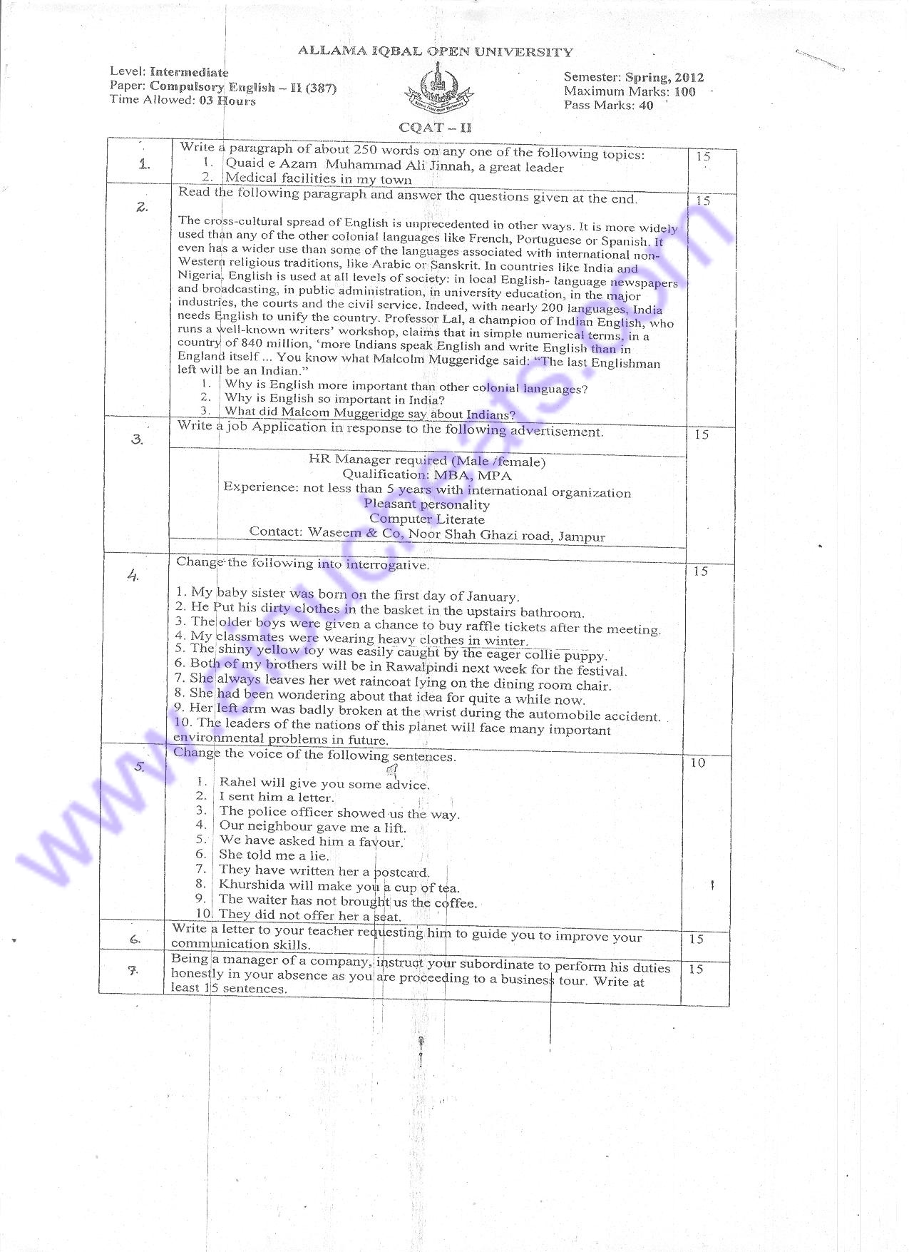 387 old paper of spring 2012 aiou f.a