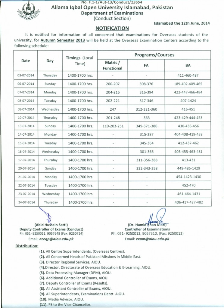 Overseas students of AIOU Final Exam datesheet 2014