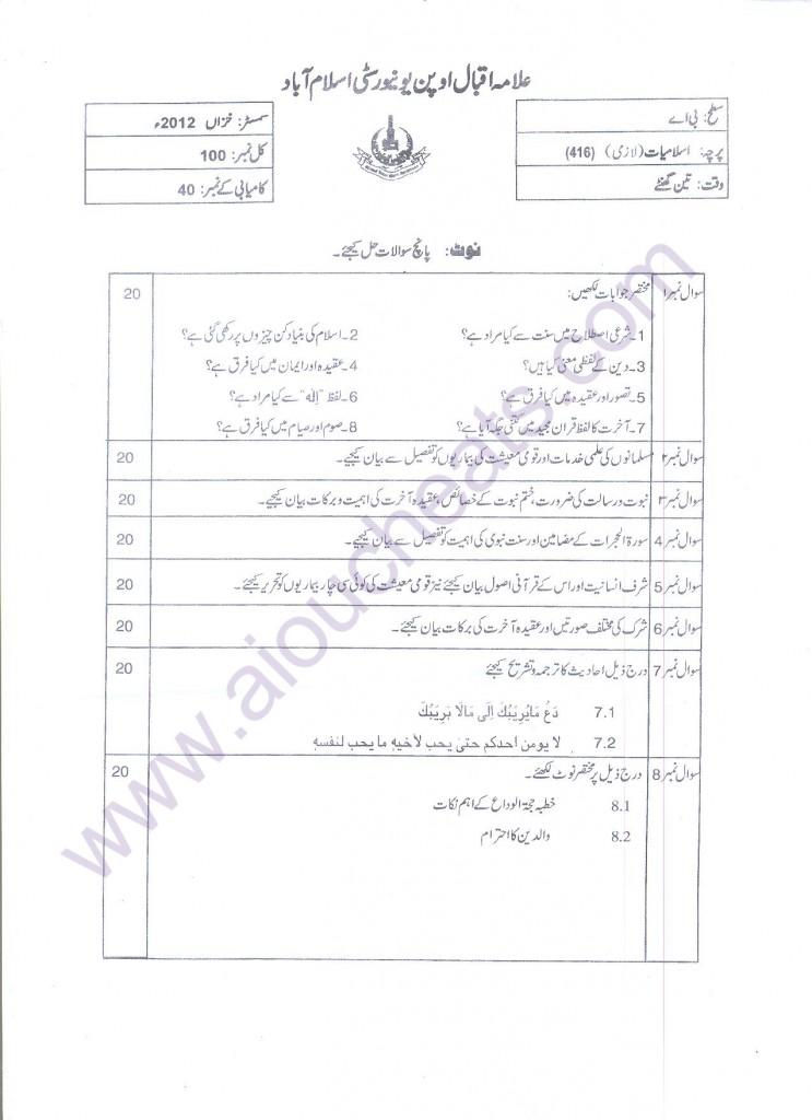 islamiat BA Code 416 Autumn 2012